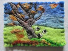 textile aceo felt aceo original aceo Autumn by SueForeyfibreart French Knots, Blanket Stitch, Felt Fabric, Autumn Trees, Image Shows, Needle Felting, Hand Stitching, Hand Sewing