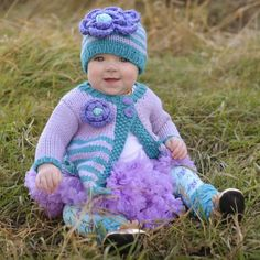 Whimsy and colorful to any outfit. Perfectly matched with ziggy flower hat. Baby Sweaters, Girls Sweaters, Sweater Hat, Flower Hats, Pretty Flowers, Hand Knitting, Lilac, Capri, Crochet Hats