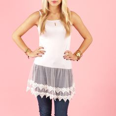 GroopDealz | Lace Cami Layering Tunic