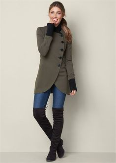 Shop women's Asymmetrical Button Jacket in Olive from VENUS clothing online or Discover jackets & coats in trendy styles at great prices today. Venus Clothing, Women's Clothing, Mode Mantel, Venus Swimwear, Colored Skinny Jeans, Winter Mode, Jacket Buttons, Coat Dress, Jacket Style