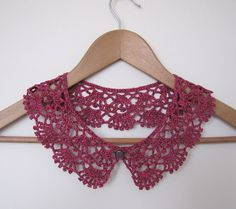Cherry Pie Lace crochet collar in burgundy wine and berry