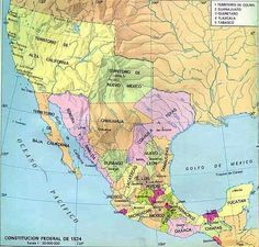 Map of Mexico in 1824 Historical Maps, Historical Pictures, Texas History, World History, Mexican American, American History, Alternate History, Old Maps, Us Map