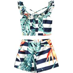 Criss Cross Tropical Ruffles Top And Shorts Set (110 RON) ❤ liked on Polyvore featuring tops, flutter-sleeve tops, ruffle top, blue top, frilled top and frilly tops