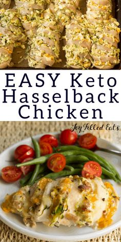 Keto Hasselback Chicken with Bacon & Cheese - Low Carb Keto Grain-Free Gluten-Free THM S - This Four Cheese Hasselback Chicken has four cheeses shredded zucchini & bacon. It looks fancy but it's actually an easy way to make stuffed chicken. Keto Foods, Ketogenic Recipes, Low Carb Recipes, Healthy Recipes, Keto Recipes With Bacon, Pollo Hasselback, Poulet Keto, Easy Whole 30 Recipes, Cheese Stuffed Chicken