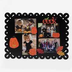 Create your own Memo Boards with colorful seasonal magnets and favorite photos. Change out photos and magnets year round to create a unique display.  Happy Halloween- Eek! from Embellish Your Story by Roeda.