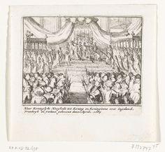Anonymous | Kroning van Willem III en Maria, 1689, Anonymous, Cornelis Danckerts (II), unknown, 1711 | Kroning van prins Willem III en prinses Maria Stuart tot koning en koningin van Engeland, in Westminster Abbey op 21 april 1689. Onderdeel van een serie over de lotgevallen van het Engelse koningshuis van Stuart van 1558-1711, waarvan hier zijn opgenomen zestien prenten over de strijd tussen Jacobus II en Willem III in de jaren 1688-1689.