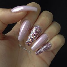 Baby Pink + Pink Holographic Glitter + Pink Glitter Long Coffin Nails #nail…