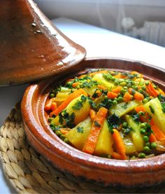 This is another Moroccan favorite tagine recipe. You'll be surprised how Vegetables will taste so different, appetizing, fresh and tasty when cooked in a Moroccan Tagine. For this slow-cooked flavo. Vegetarian Tagine, Vegetarian Recipes, Cooking Recipes, Healthy Recipes, Slow Cooking, Moroccan Tagine Recipes, Moroccan Dishes, Tajin Recipes, Vegetable Recipes