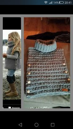 Poncho from CCC - poncho with moss stitch with a pocket on front. Poncho Pattern: Chain the chains with a slip SC, increase on every Knitting For Kids, Baby Knitting Patterns, Loom Knitting, Knitting Projects, Crochet Projects, Crochet Patterns, Crochet Crafts, Crochet Ideas, Knit Or Crochet