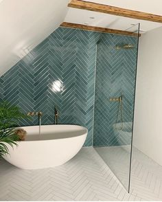 Gorgeous tile color from ! Bathroom Interior Design, Home Interior, Interior Decorating, Interior Livingroom, Interior Plants, Bad Inspiration, Bathroom Inspiration, Bathroom Renos, Small Bathroom