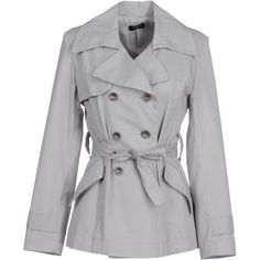 JUGGLER Full-length jacket ($135) ❤ liked on Polyvore featuring outerwear, jackets, coats, tops, casacos, light grey, collar jacket, full length jacket, long sleeve jacket and double breasted jacket