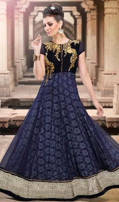 Interest oceans of attention dressed in this navy blue net and velvet embroidered floor length Anarkali suit. This gorgeous attire is displaying some superb embroidery done with lace and resham work. #RichPersonalityNetAndVelvetAnarkaliSuit