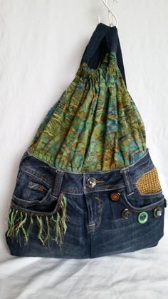 Handcrafted Up-cycled Blue Denim Jeanw/ Green Fabric Backpack | Clothing, Shoes & Accessories, Women's Handbags & Bags, Handbags & Purses | eBay!