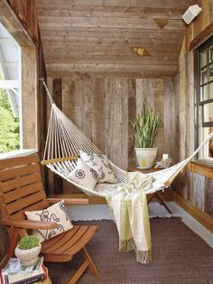 Hammock on the porch so you can still be outside when it rains. I love rain and i love being outside, perfect solution!