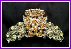 Silver Tone Hair Claw Decorated with Amber and Yellow Tone Crystals