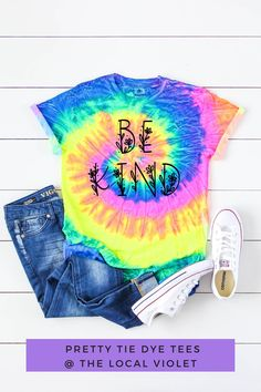 Have fun with our be kind tie dye t-shirt! You can tie it in knot and wear it with bell bottoms and sneakers. #tiedyeshirts #tiedyetshirts #rainbowtiedye #hippiegraphictees #bohographicteeds #tshirtjeansoutfit #hippietops #bekind Hippie T Shirts, Hippie Tops, Hippie Style, Hippie Outfits, Mom Outfits, Spring Outfits, Cute Tie Dye Shirts, Jeans And T Shirt Outfit, Hippie Fashion
