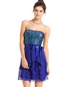 Hailey Logan Juniors Dress, Strapless Ruffle Sequin