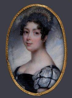 1812 La princesse Desideria de Suède Miniature par Nicolas Jacques aka Desiree, in Swedish court dress