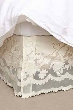 Camellia Bedskirt #anthropologie -- this would be destroyed instantly by the animals, but it's beautiful #BeautifulBedding
