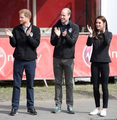 Prince Harry Prince William Duke of Cambridge and Catherine Duchess of Cambridge cheer on runners after they signaled the start of the 2017 Virgin...