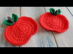 ▶ How to Crochet an Apple Coaster - YouTube