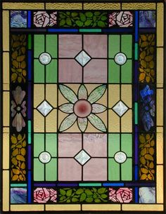 Antique American Victorian Stained Glass Window AE426