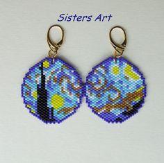 """Orecchini """"Van Gogh"""" realizzati con perline Miyuki delica"""