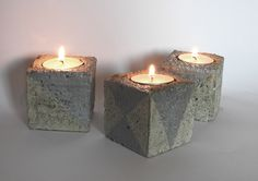 Candle Holders – Candlesticks - concrete cubes – a unique product by LumiLamp on DaWanda Cubes, Candlesticks, Concrete, Lamps, Candle Holders, Unique, Artist, Handmade, Etsy