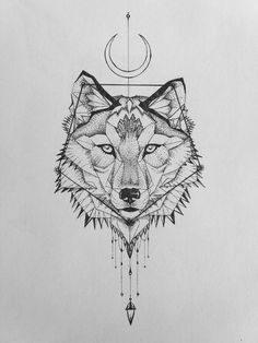 Geometric wolf tattoo.