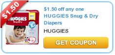 $1.50 off any one HUGGIES Snug & Dry Diapers