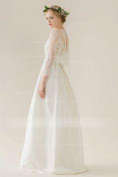 Vintage Exquisite V Neck 3/4 Sleeved A-line Taffeta Wedding Dress