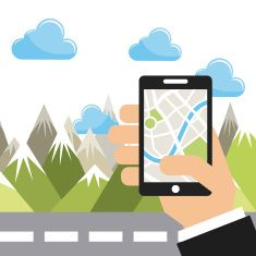 gps app vector art illustration