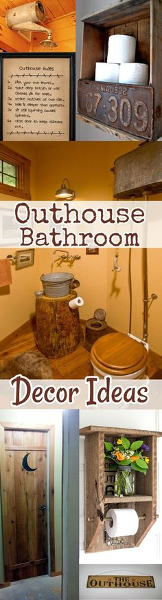 Bathroom Decor Ideas: Rustic country farmhouse outhouse bathroom decorating tips and DIY ideas. Great for small/apartment-size bathrooms, cabin bathrooms, and guest bathroom redecorating. Shabby chic fun on a budget.