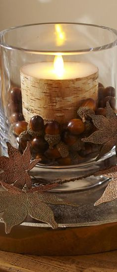 Fall decor.  Love the birch log candle with the acorns.