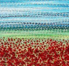 Poppy field fabric landscape stitched beaded art by StitchMikki on Etsy