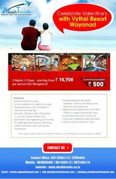 Celebrate Valentine's with Vythiri Resort, Wayanad. http://www.akashtravels.co.in/