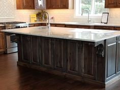 Rustic Hickory stained island