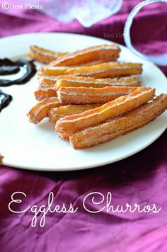 Eggless Churros - Will switch this up & use coconut flour & sugar. Eggless Desserts, Eggless Recipes, Eggless Baking, Easy Desserts, Delicious Desserts, Egg Free Recipes, Allergy Free Recipes, Sweet Recipes, Pastries