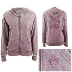 Purple Paw Burnout Hooded Sweatshirt for Michele