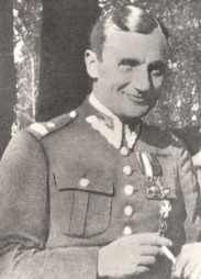 "Henryk Dobrzański ""Hubal"" became the first partisan commander of World War II. The ""Separated Unit of the Polish Army"", as he called it, preformed raids on German forces in Poland. He was captured and killed by German soldiers near the village of Anielin (powiat of Opoczno) in April 1940."