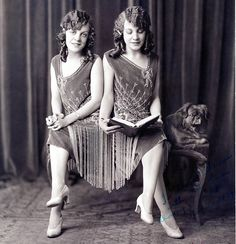 Daisy & Violet Hilton, a pair of conjoined twins who toured in the vaudeville circuit in the 1930s. http://www.theglamourai.com/2014/01/life-is-a-cabaret.html