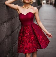 Fashion Red Lace Homecoming Dress,Sweetheart Prom Dress,Knee Length Homecoming Dress