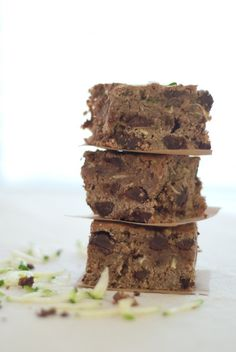 {Dark Chocolate Zucchini Brownies}