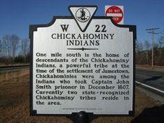 chickahominy   virginia history | Chickahominy Indians - Virginia Historical Markers on Waymarking.com