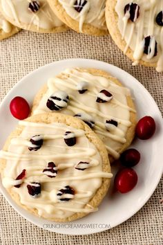 White Chocolate Cranberry Sugar Cookies