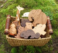 Wooden Toy Animals - all natural teethers and Waldorf toddler toys. $48.00