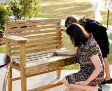 Wedding Guest Book Bench have guests sign the bench, seal it, and use in your backyard/deck/patio. Wedding Guest Book, Wedding Reception, Rustic Wedding, Wedding Bench, Fall Wedding, Wedding Night, Wedding Venues, Reception Signs, Wedding Catering