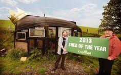 The winning shed in the 2013 competition was built by Alex Holland from Machynlleth in mid Wales, and is crafted entirely from recycled materials. It contains a wood burner, 12v sound system, a gas cooker and a refrigerator.