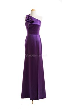 Luxurious Grape A-Line One Shoulder Satin Long Bridesmaid Dresses(BSD036) - MyBridesmaid.co.nz