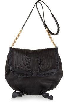 Nina Ricci|Twist-detailed leather shoulder bag|NET-A-PORTER.COM - StyleSays